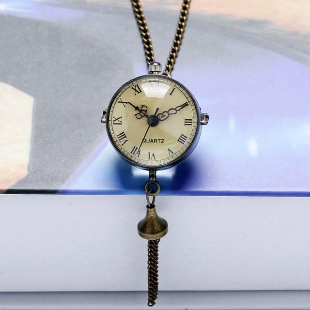Antique Vintage Big Glass Ball Bull Eye Quartz Pocket Watch Steel Tassel Necklac