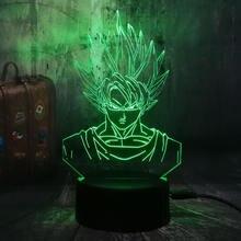 Cartoon 3D LED Lamp Dragon Ball Super Saiyan God Son Goku Action Figures Table Lamp 7 Color Night Light Boys Christmas Gift Lava