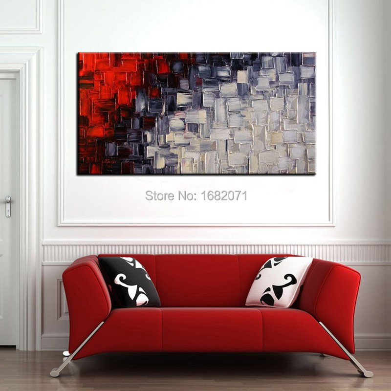 Free Shipping Artist Handmade Black White And Red Oil Paints Unique Modern Abstract Pop Painting For Living Room Decoration In Calligraphy