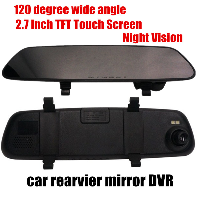 fashion car rearview <font><b>mirror</b></font> <font><b>DVR</b></font> video recorder 2.7inch 120 degree wide angle night vision comcorder image