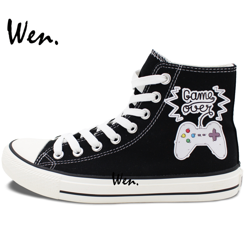 Wen Design Joypad Game Console Slogan GAME OVER High Top Canvas Shoes Unisex Black Sneakers for Birthday Christmas Special Gifts