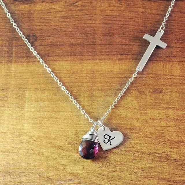 Personalized 925 sterling silver sideways cross necklacecustom personalized 925 sterling silver sideways cross necklacecustom initials charm engraved heart pendant aloadofball Gallery