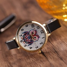 Cute Leather Strap Watches Owl Quartz Bracelet Wrap Watch SF