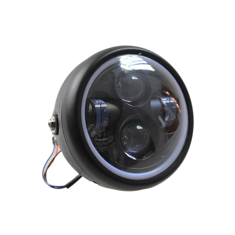 12V LED Headlight Projection Lamp With Angel Ring For Harley Sportster Cafe Racer Bobber Motorcycle