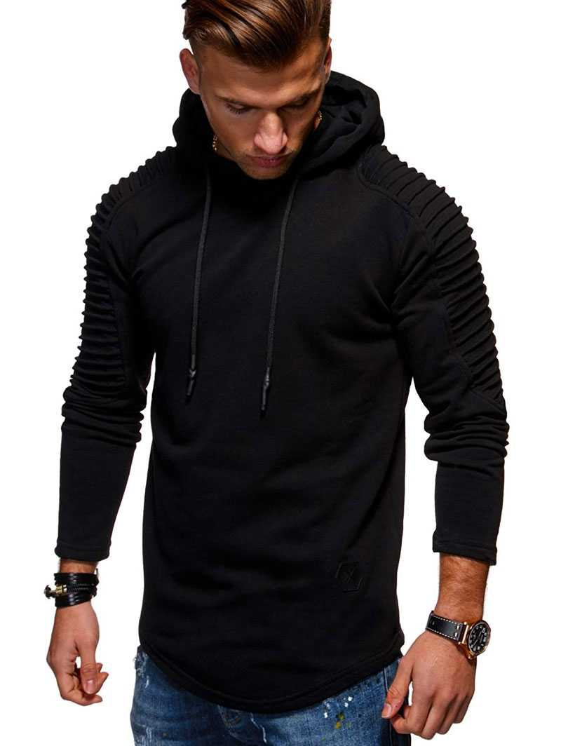 49ac147d Solid Color Pleated Sleeve Long Fleece Hoodie Mens Casual Sweatshirts hem  curved hexagon patch detail Fall