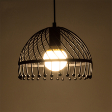 Vintage Black Iron Cage Chandeliers  Attic Lighting Warehouse Pendant Lamps Kitchen Light Bedroom Living Room Study Hanging Lamp