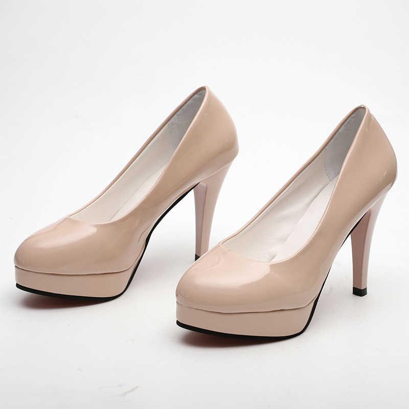 Plus Size 34-42 Vrouwen Pompen Lakleder Hoge Hakken Schoenen Zoete Ronde Neus Paltform Fashion Klassieke Bruiloft Dames jurk Schoenen