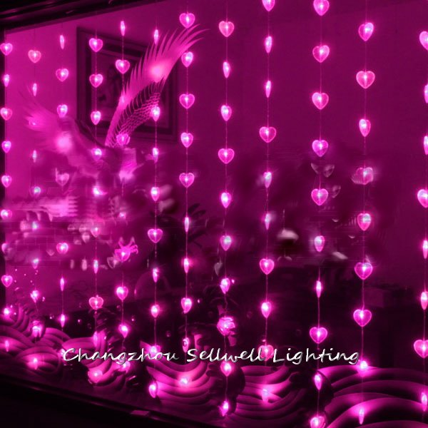 GREAT!Christmas Decoration Entrance Curtain Decoration 1.6*2m Pink Heart Bead Curtain Lamp H064
