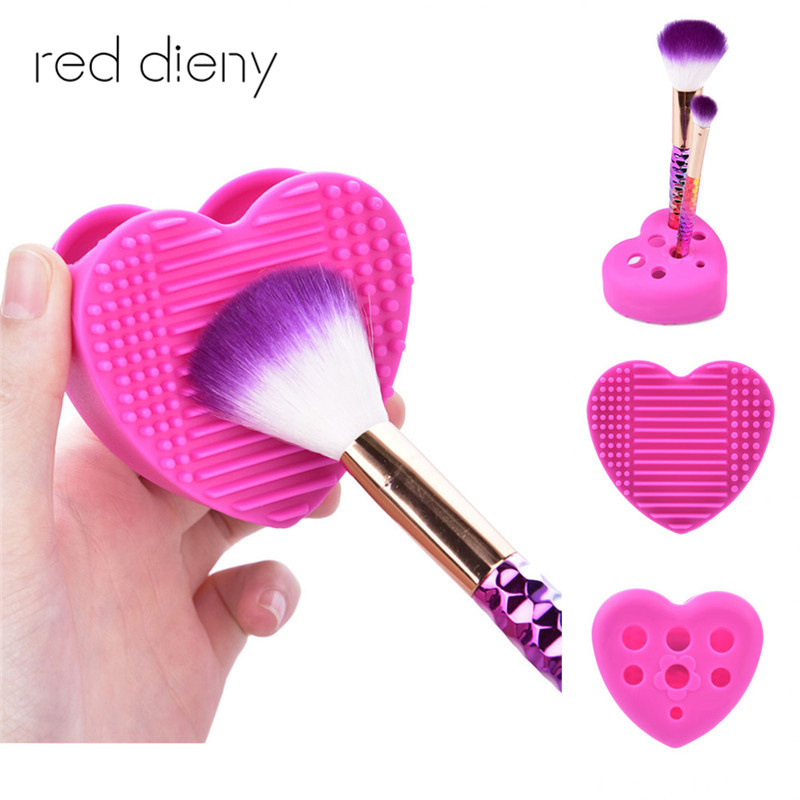 2 in 1 brush cleaner and holder Brush Makeup Wash Silica Glove Scrubber Brush Cosmetic Cleaning pad Beauty Makeup Brushes New cute design heart shape clean make up brushes wash brush silica glove scrubber board cosmetic cleaning tools for makeup brushes