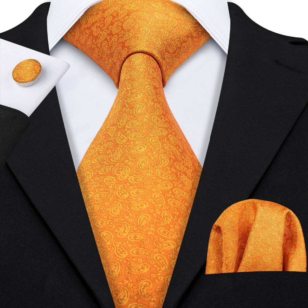 2019 Barry.Wang New Orange Paisley 100% Silk Fashion Tie Gifts For Men Wedding Party Business Luxury Brand Neckties Sets LS-5122