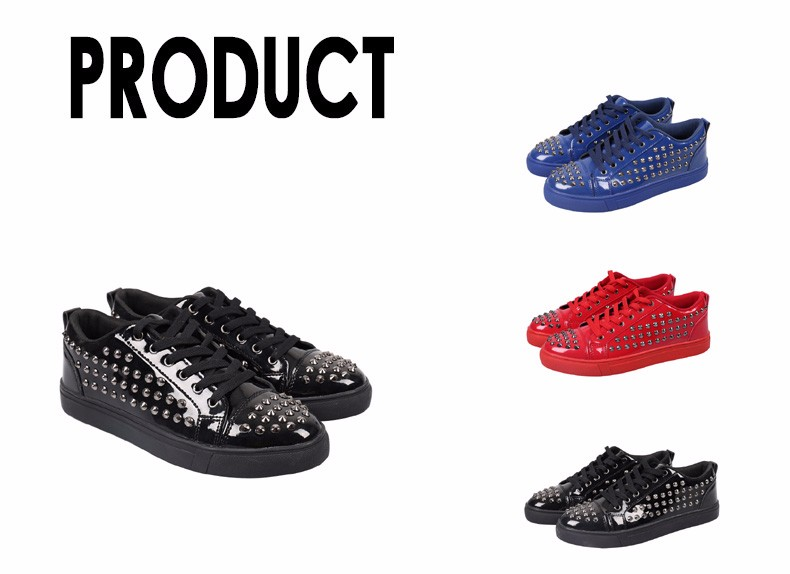 Fashion Patent Leather Men\'s Loubuten Shoes Zapatillas Superstar Casual Low Top Rivets Men Shoes Size 39-44 Round Toe Flats F13 (1)
