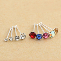Top Quality Kryształ Nose Ring Kobiet Pani Ciało Biżuteria Piercing Nose Stud Pin Srebrny Elegancki JEW01214