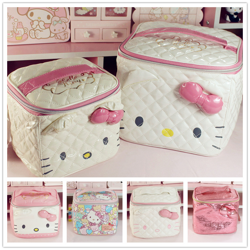 цена на Cute Cartoon Genuine Hello Kitty Cosmetic Bag Pu Makeup Bag Girls Cosmetic Case Women Pouch Travel Toiletry Storage Holder Bag