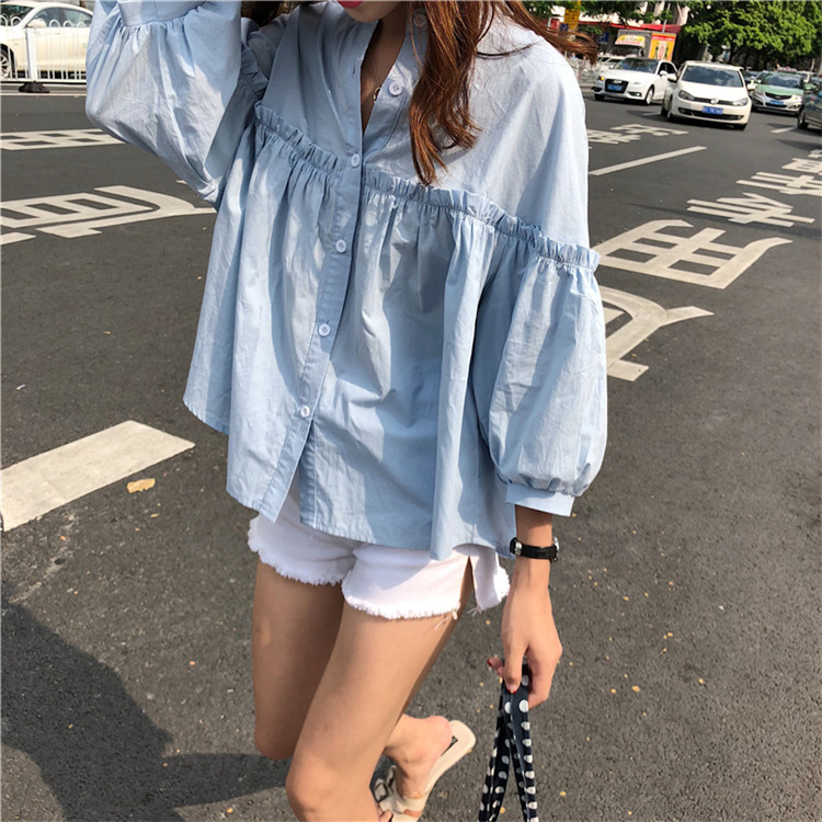 Alien Kitty Womens Solid Light Blue Sweet Shirt Girls New Summer Tops Loose Casual Lantern Sleeve Single-breasted Blouse Blusas 5