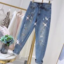 Прямые джинсы, весна, новые модные женские джинсы в стиле ретро с блестками и кисточками