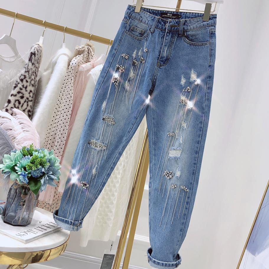 Straight jeans 2019 spring new fahsion sequins beaded tassels worn out loose retro jeans women