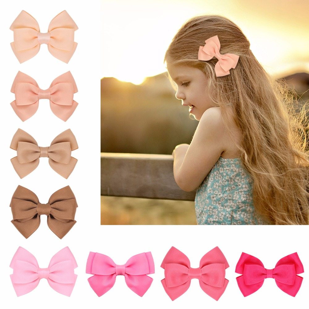 40pcs/lot Cute Children Hair Alligator Clip Hair Accessories   Headwear   Baby Ribbon Bow Kids Baby Girls Hairpins Full Cover Clips