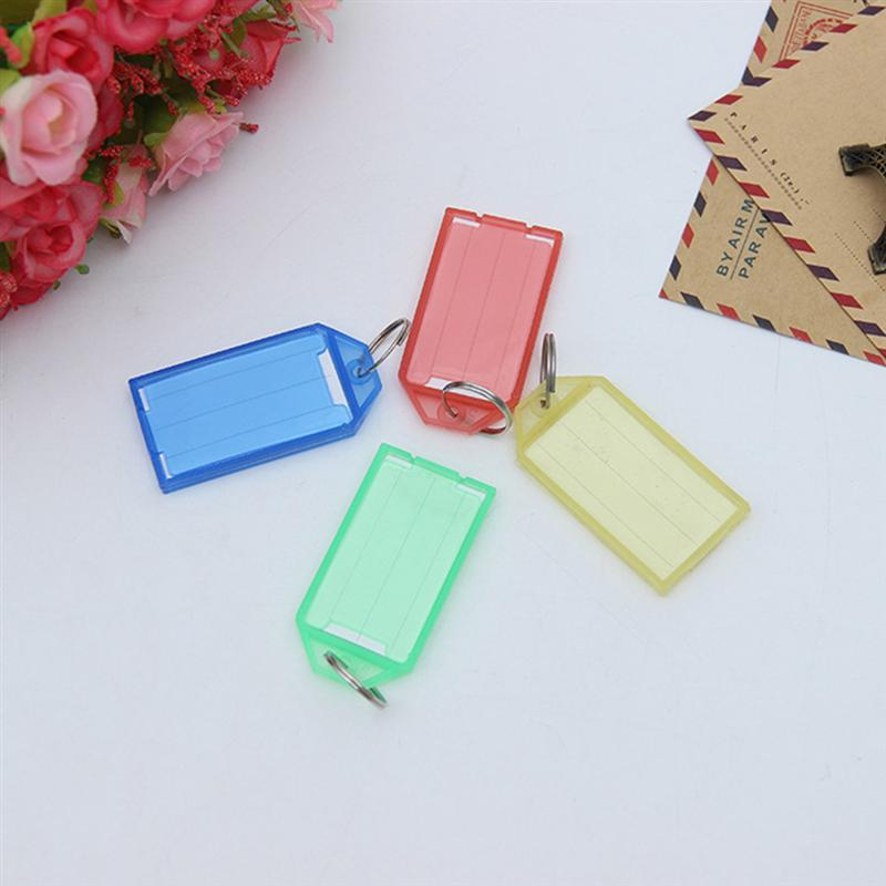 24pcs Plastic Key Fobs Luggage ID Tags Labels with Key Rings (Mixed Color)