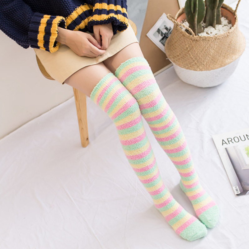 TOIVOTUKSIA Women Lady Girl Over The Knee Warm Fluffy Long Striped Thigh High Long Striped Fuzzy Warm Stocking in Stockings from Underwear Sleepwears