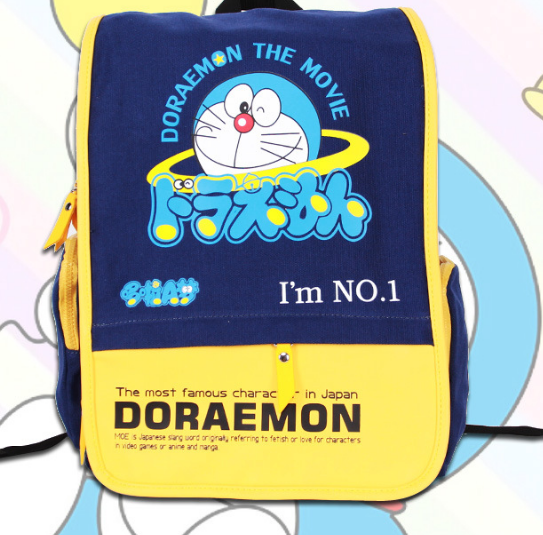 2018 Cartoon Doraemon Canvas Backpack School Bags For Boys Backpack Bookbag Teenagers Printed Double Shoulders