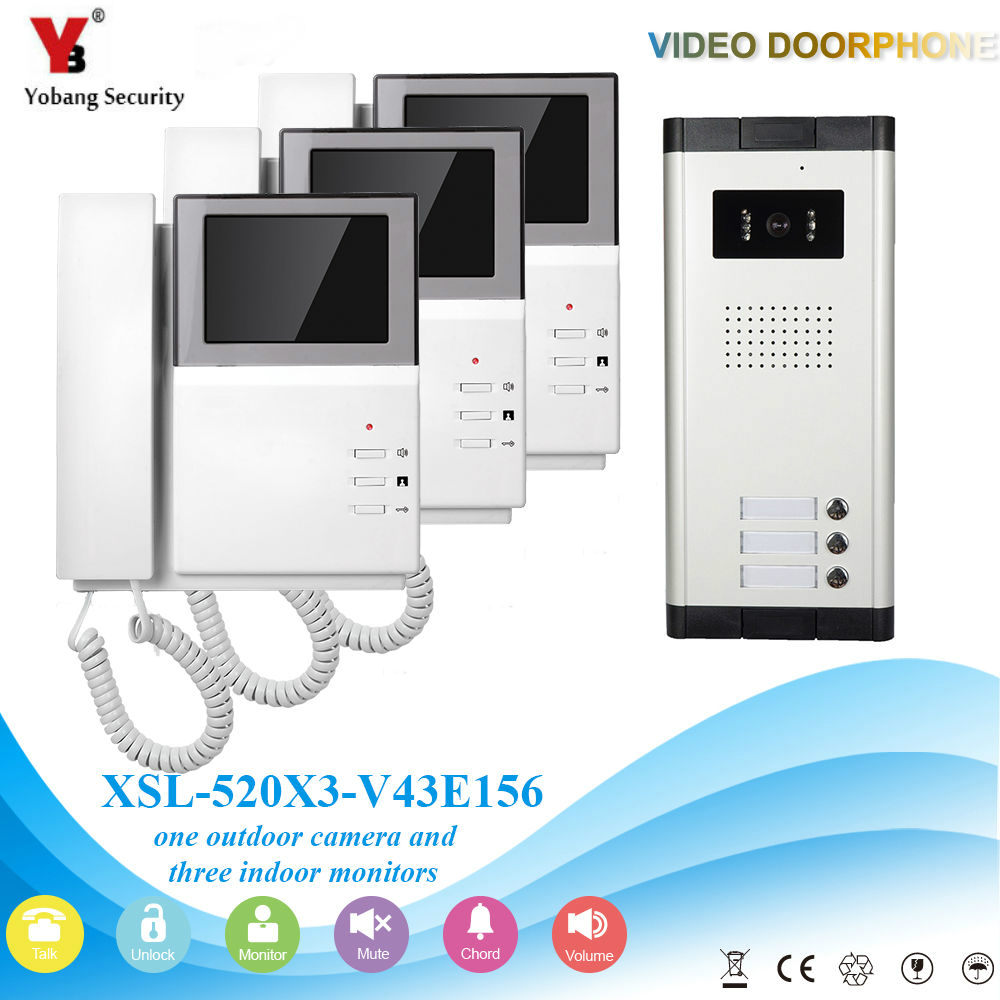 YobangSecurity Video Intercom 4.3 Inch Color LCD Video Door Phone Doorbell Camera Monitor Entry System For 3 Unit Apartment