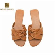 KATELVADI Brand New Summer Slippers Brown PU Women Beach Slides Outdoor Indoor Slip On flip Flops K-356
