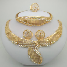 2018 Nigerian Wedding African Beads Jewelry Set Brand Woman Fashion Dubai Gold Color Bridal Bijoux