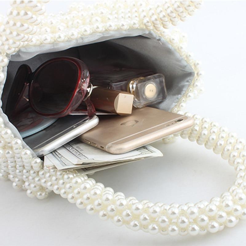 Femmes tissé à la main perle sac de plage été perlé sac à main dame top de fête poignée sac acrylique en plastique sac à main de luxe fourre-tout sac de soirée - 3