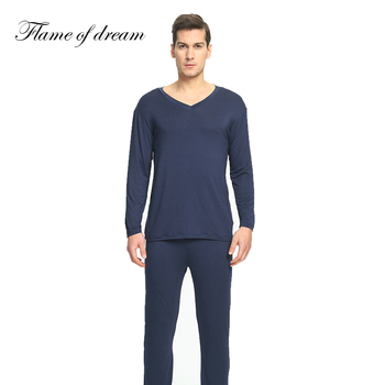 Modalne materiał Pijamas Para Homens piżamy mężczyźni piżamy mężczyźni piżama Homme Pijama Masculino piżamy mężczyźni odzież męska zestaw 114 tanie i dobre opinie flame of dream Włókno bambusowe Pełna REGULAR Elastyczny pas Stałe O-neck Casual