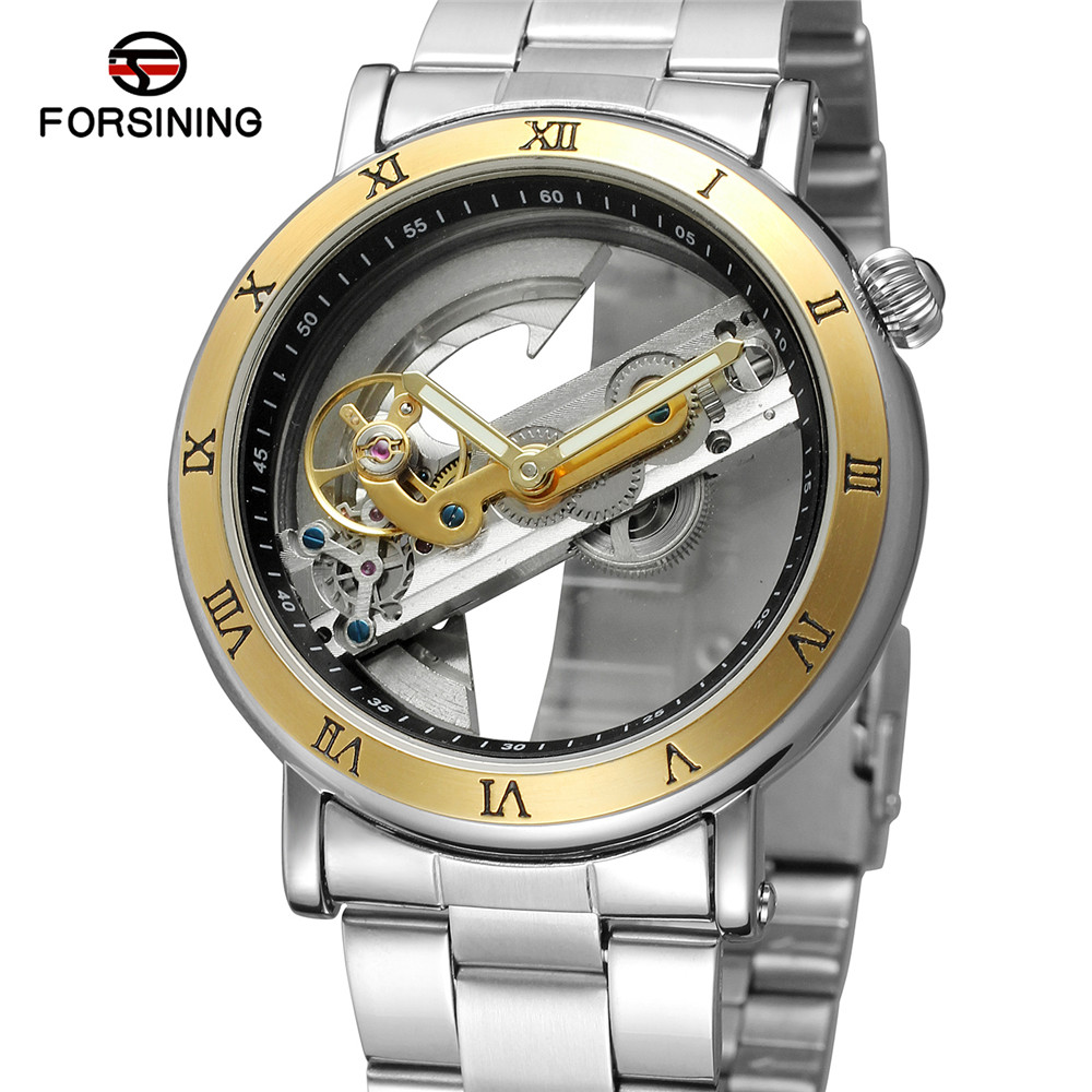 FORSINING Mens Watches Automatic Mechanical Skeleton Top Brand Luxury Men Watch Bridge Hollow Sport Military Male Clock 0409 forsining mens watches top brand luxury golden men mechanical skeleton watch mens sport watch designer fashion casual clock men