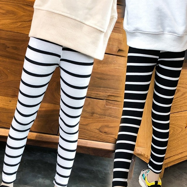 574144b8e2ef4 stretch kids leggings for girls spring autumn 2018 black white striped  shinny girls pants elastic waist children pants clothing