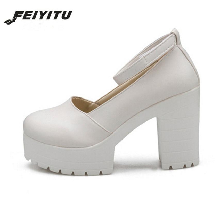 2017 NEW  Spring Ladies Footwear Casual Thick Heels Platform Shoes For Girls Women High Heels Shoes Pumps BLACK WHITE SIZE 35-39 kryte sandały na platformie