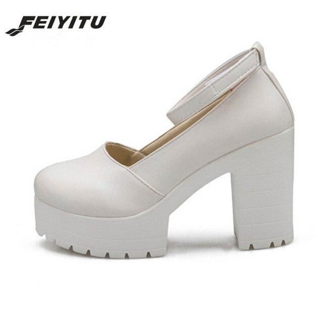 US $14.62 30% OFF FeiYiTu 2018 NEUE Frühjahr Damen Schuhe Casual Dick Heels Plattform Schuhe Für Mädchen Frauen High Heels Schuhe Pumps SCHWARZ WEIß