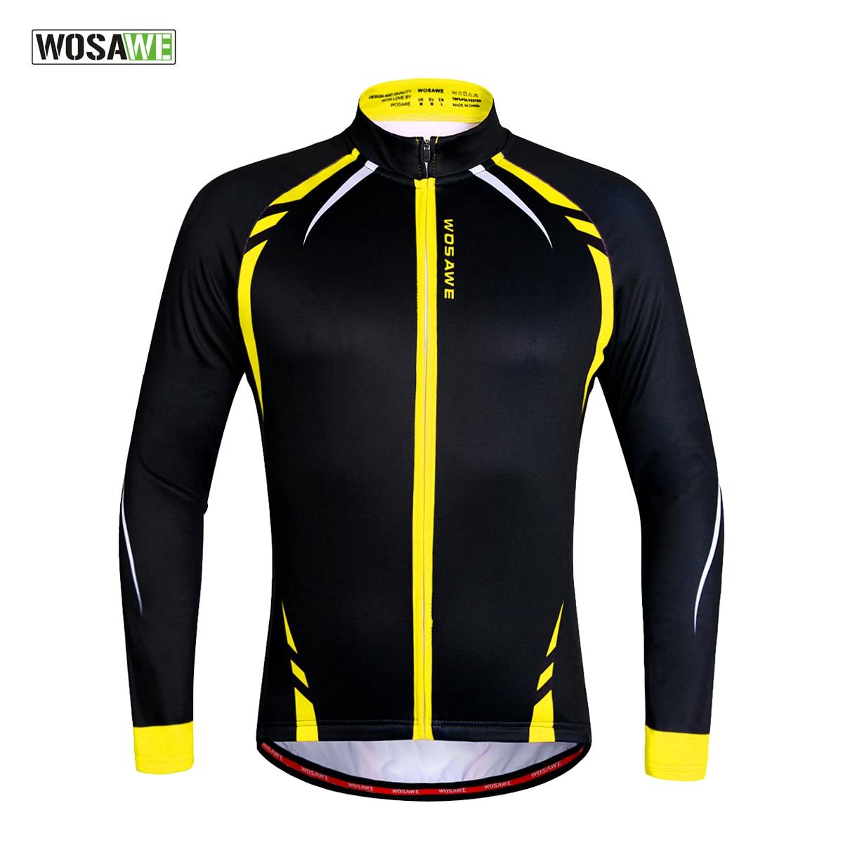 WOSAWE Thermische Radfahren Jacken Gelb Winddicht Lange Hülse Jersey MTB Bike Fahrrad ciclismo Reflektierende Fleece Radfahren Kleidung