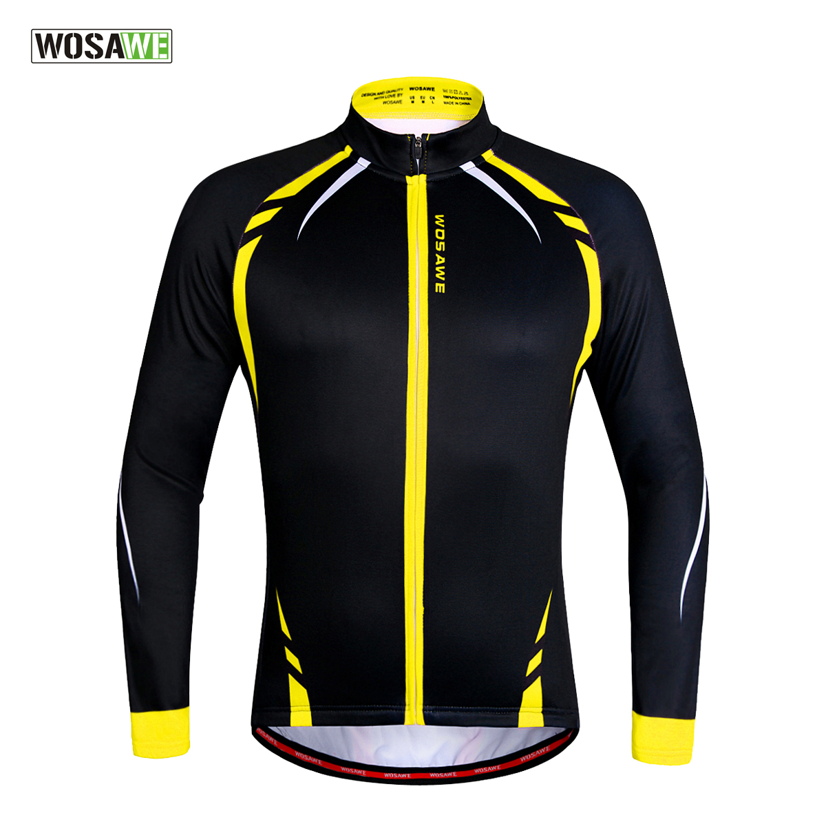 WOSAWE Thermal Cycling Jackets Yellow Windproof Langarmtrikot MTB Fahrrad Ciclismo Reflektierende Fleece-Radbekleidung