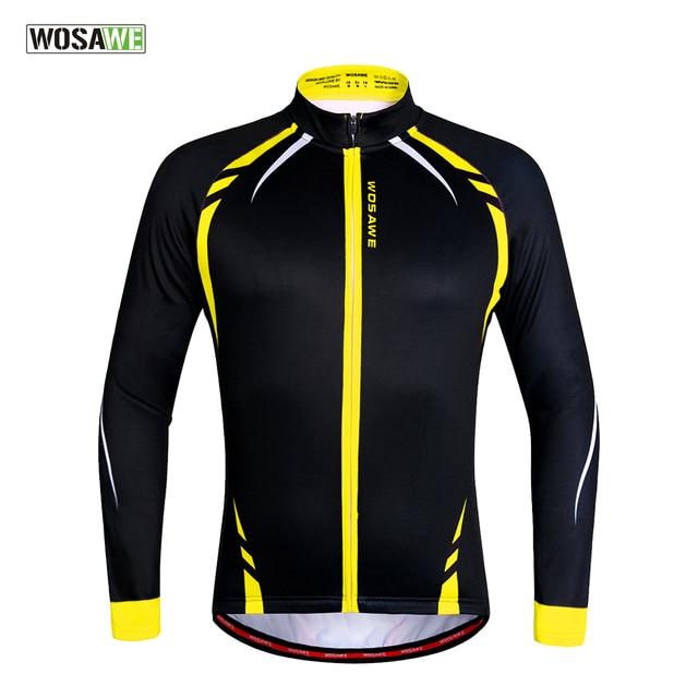 WOSAWE Thermal Cycling Jackets Yellow Windproof Long Sleeve Jersey MTB Bike  Bicycle ciclismo Reflective Fleece Cycling f2406b32e