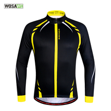 WOSAWE Thermal Cycling Jackets Yellow Windproof Long Sleeve Jersey MTB Bike Bicycle ciclismo Reflective Fleece Cycling Clothing