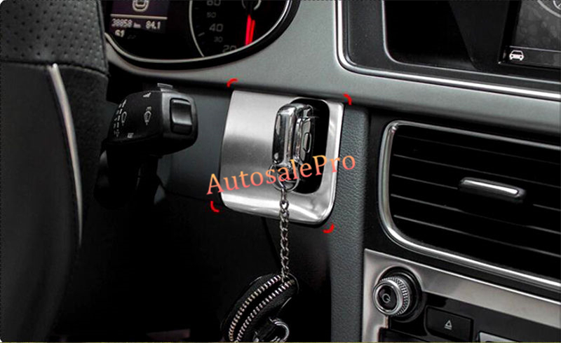 Left Hand Drive Stainless Console Middle Air Vent Side Key Insert hole Cover trim For Audi A4 B8 2008-2015