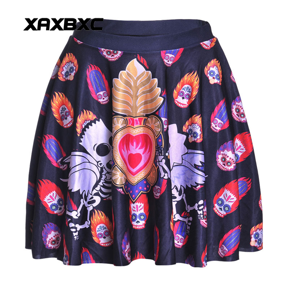 NEW 1220 Summer Sexy Girl Halloween Monkey King Skull Printed Cheering Squad Tutu Skater Women Mini Pleated Skirt Plus Size