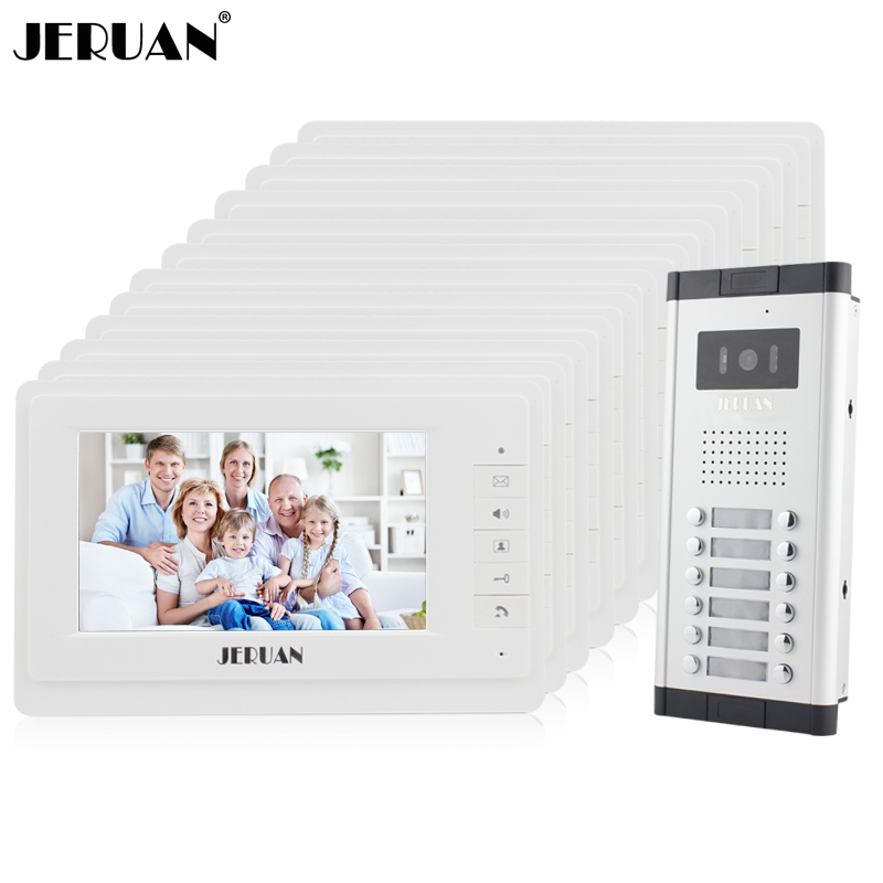 JERUAN Apartment Doorbell intercom 12 Monitor 7`` Video door phone Intercom System HD IR COMS Camera for 12 Call Button 12 house wireless service call bell system popular in restaurant ce passed 433 92mhz full equipment watch pager 1 watch 7 call button