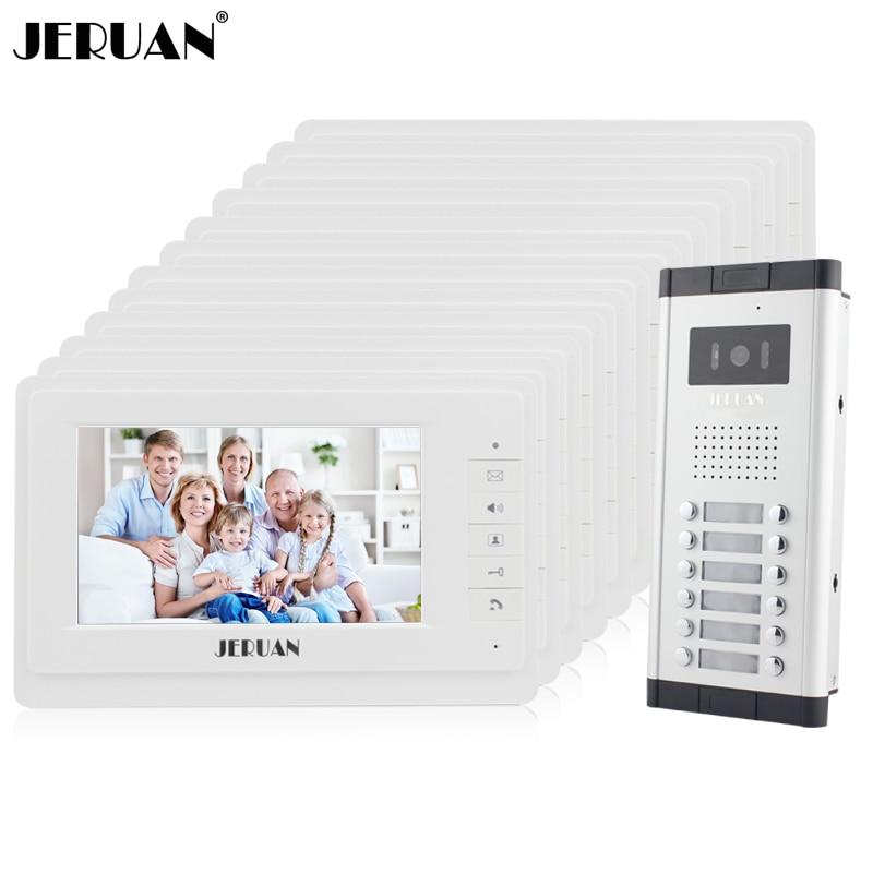JERUAN Apartment Doorbell Intercom 12 Monitor 7`` Video Door Phone Intercom System HD IR COMS Camera For 12 Call Button 12 House