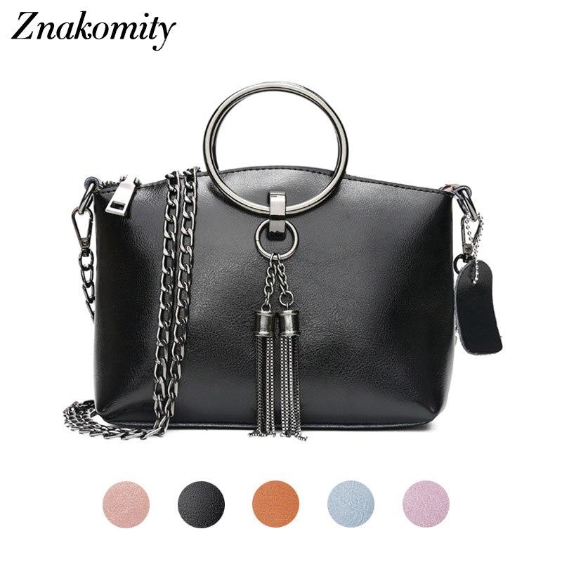 Znakomity Genuine leather messenger bag women's Small handbag crossbody bag for women black Chain tassel shoulder cross bag mini цена 2017