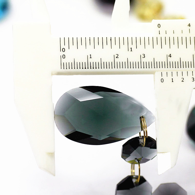 6pcs/lot (105MM) Transparent black Crystal Glass chandelier Parts ( 38mm Crystal Glass angel tear with 3pcs 14mm octagon Beads)