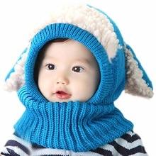 Новый Розничная Малышей детские Девушки Мальчик Шляпы Капюшон Капюшон Kintted Шерстяные Шарфы Шапки Зима Теплая Шапка