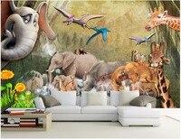 Custom mural photo 3d wallpaper Forest animal elephant giraffe decoration painting 3d wall murals wallpaper for walls 3 d