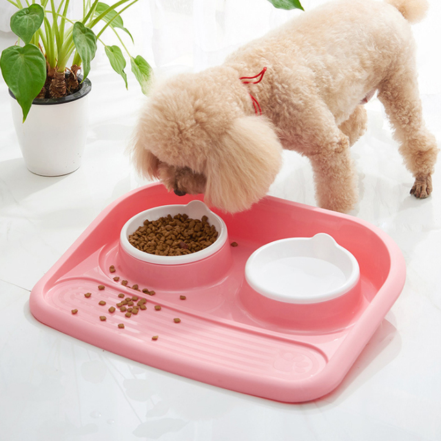 Non-toxic Resin Pet Food & Water Bowls With Stainless Steel Liners