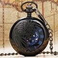 Новый Модный Cool Черный Павлин Полый Корпус Синий Римские Цифры Скелет Наберите Стимпанк Механический Карманные Часы