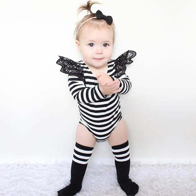 f344bb387 Online Shop Newborn Baby Romper Black White Striped Long Sleeve ...