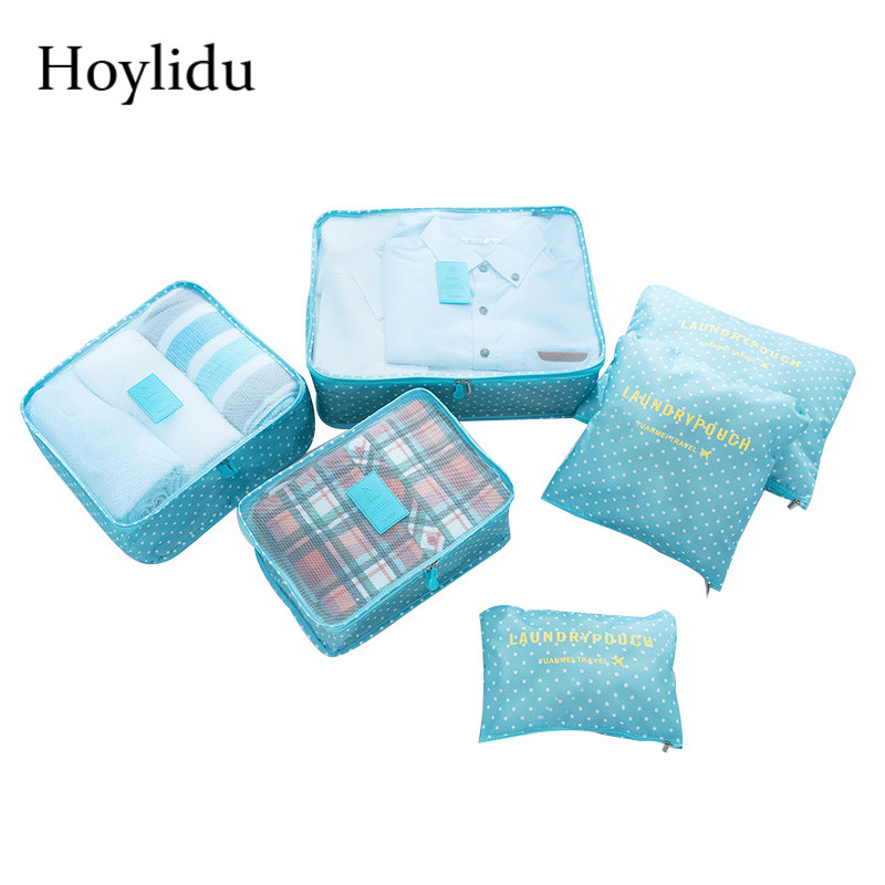 6 Pcs/Set Travel Package Colorful Nylon Waterproof Large Capacity Packing Organizers For Clothes Underwear Folding Zipper Bags ...