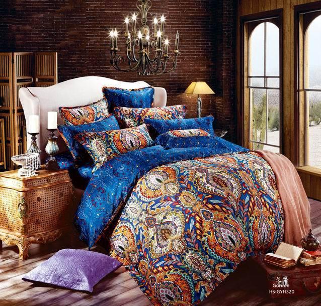 egyptian cotton luxury boho bedding sets king queen size bohemian quilt duvet cover bedsets bed. Black Bedroom Furniture Sets. Home Design Ideas